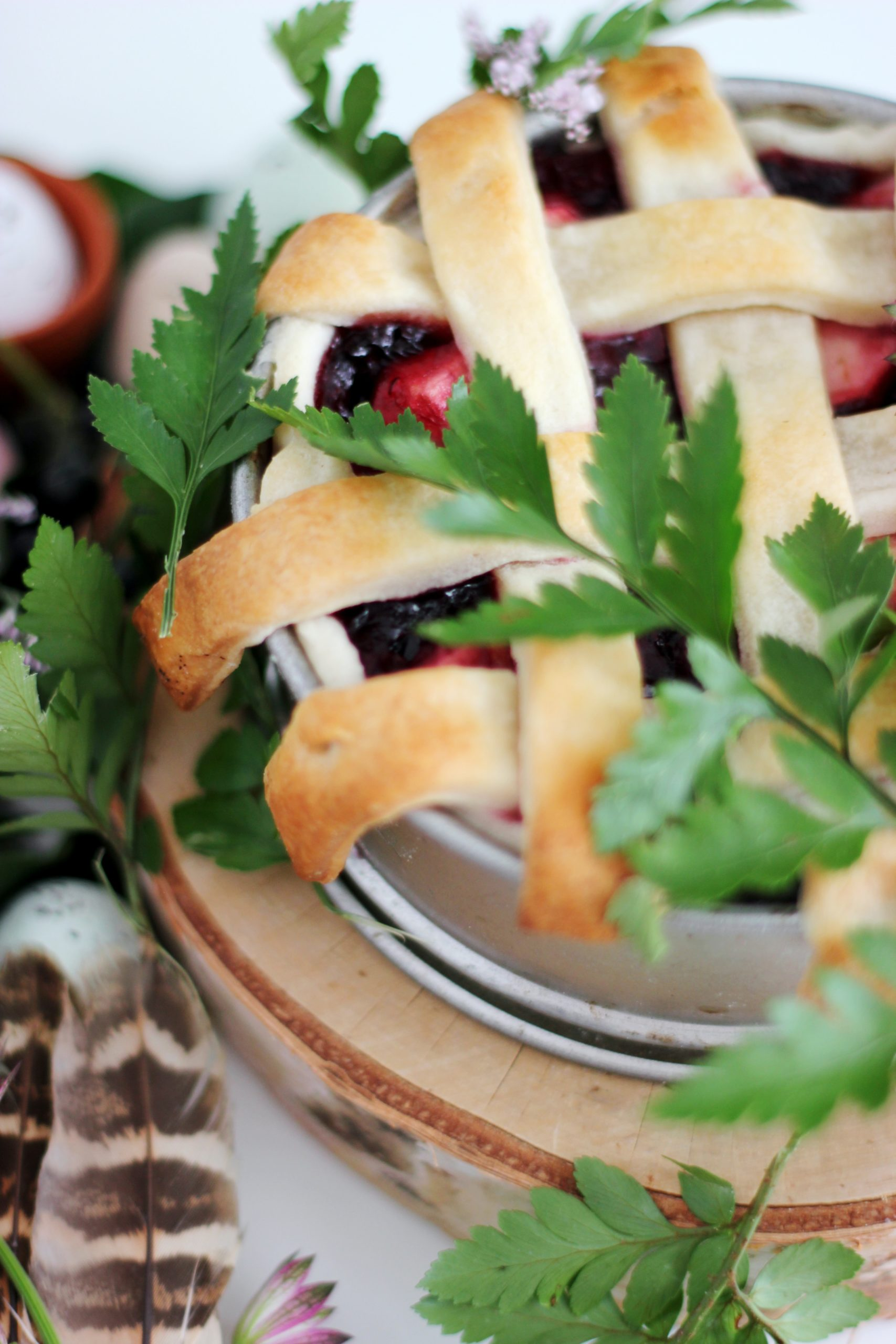 blueberry pie with parsley served on white ceramic bowl